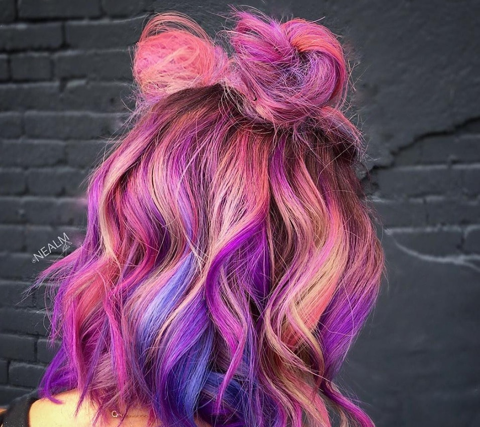 multi-coloured space buns festival hair
