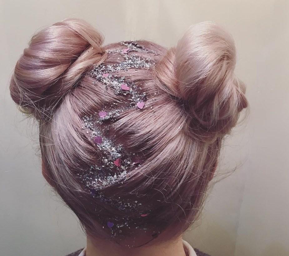 space buns pink hair glitter festival