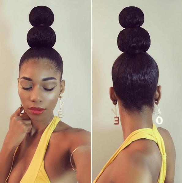 natural hair ninja bun