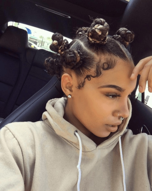 bantu knots with 90s baby hair