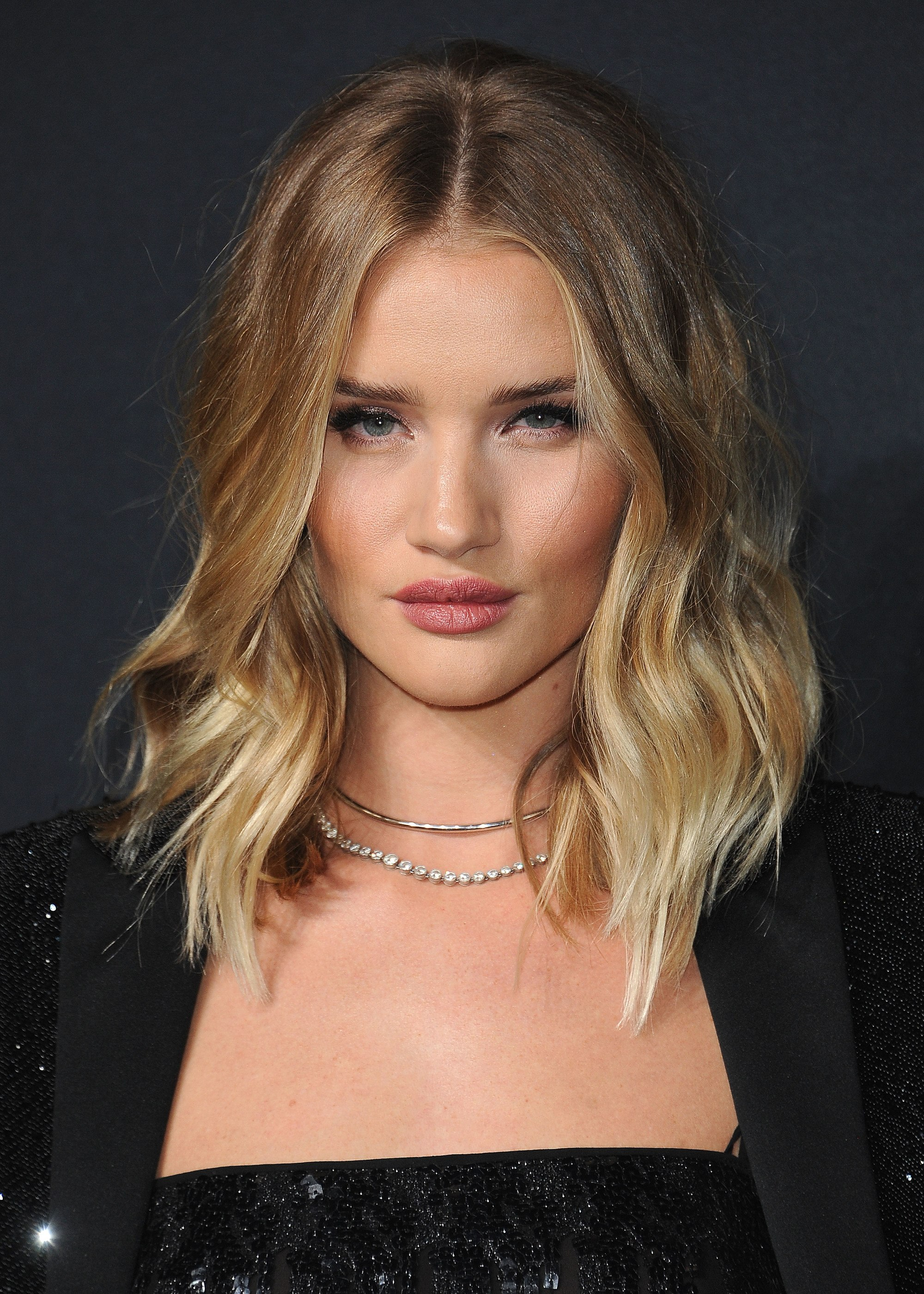 Medium hairstyles for thick hair: Rosie Huntington-Whiteley with a wavy blonde ombre long A-line bob
