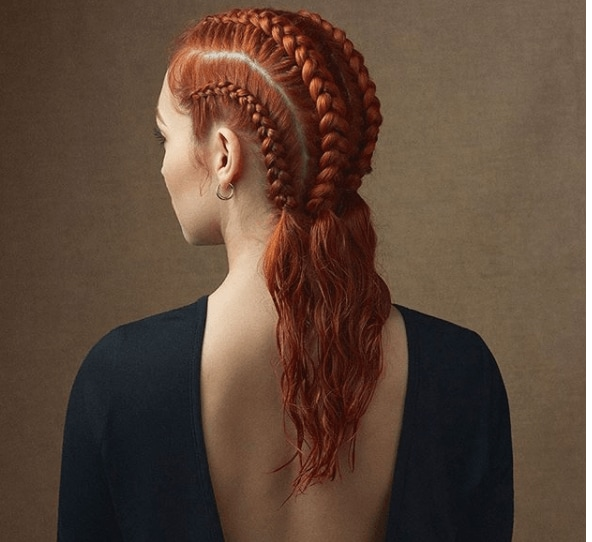 back view image of a woman with red hair in braid - faux hawk braid