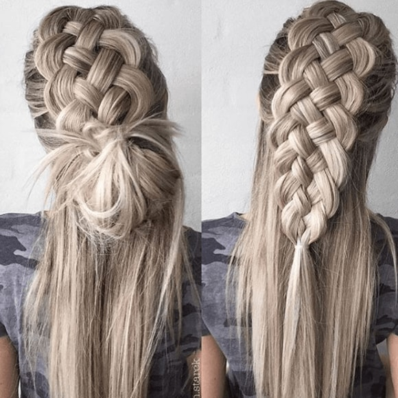 back view of a womans blonde hair braided and long - faux hawk braid
