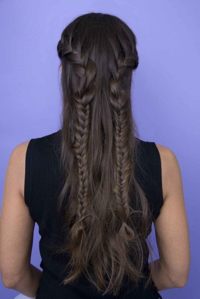 back view of a woman with long dark hair in double braids