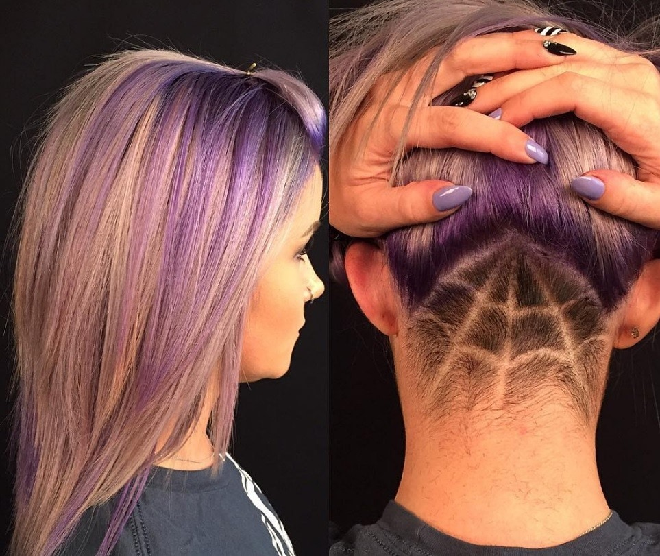 spiderweb undercut shaved into long silver purple hair