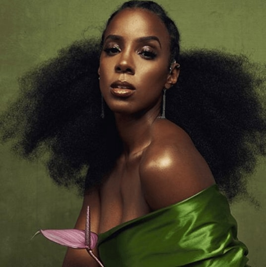 Kelly Rowland for Schon magazine with big natural hair wearing a silk green dress