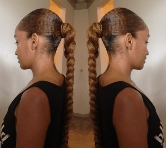 braided hairstyles for long hair: braided pony with micro braid
