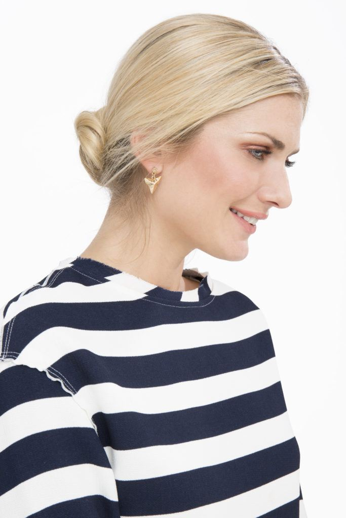 blonde model with hair styled into a low twisted bun easy updo