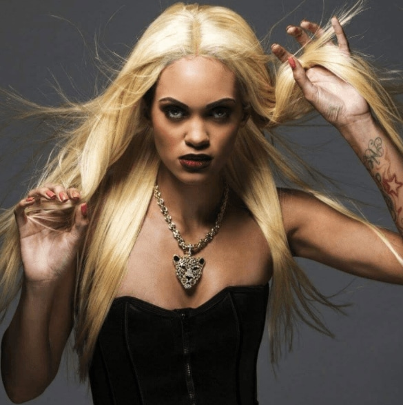 front view image of a woman with long blonde hair - vampire hairstyles