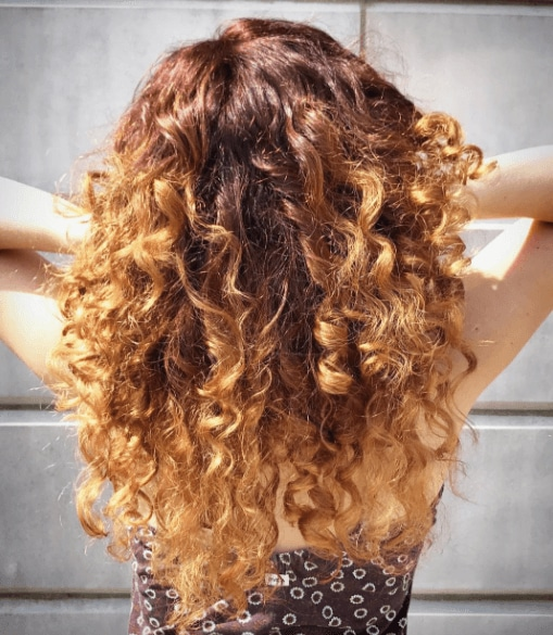 back of a womans head with curly hair and red balayage