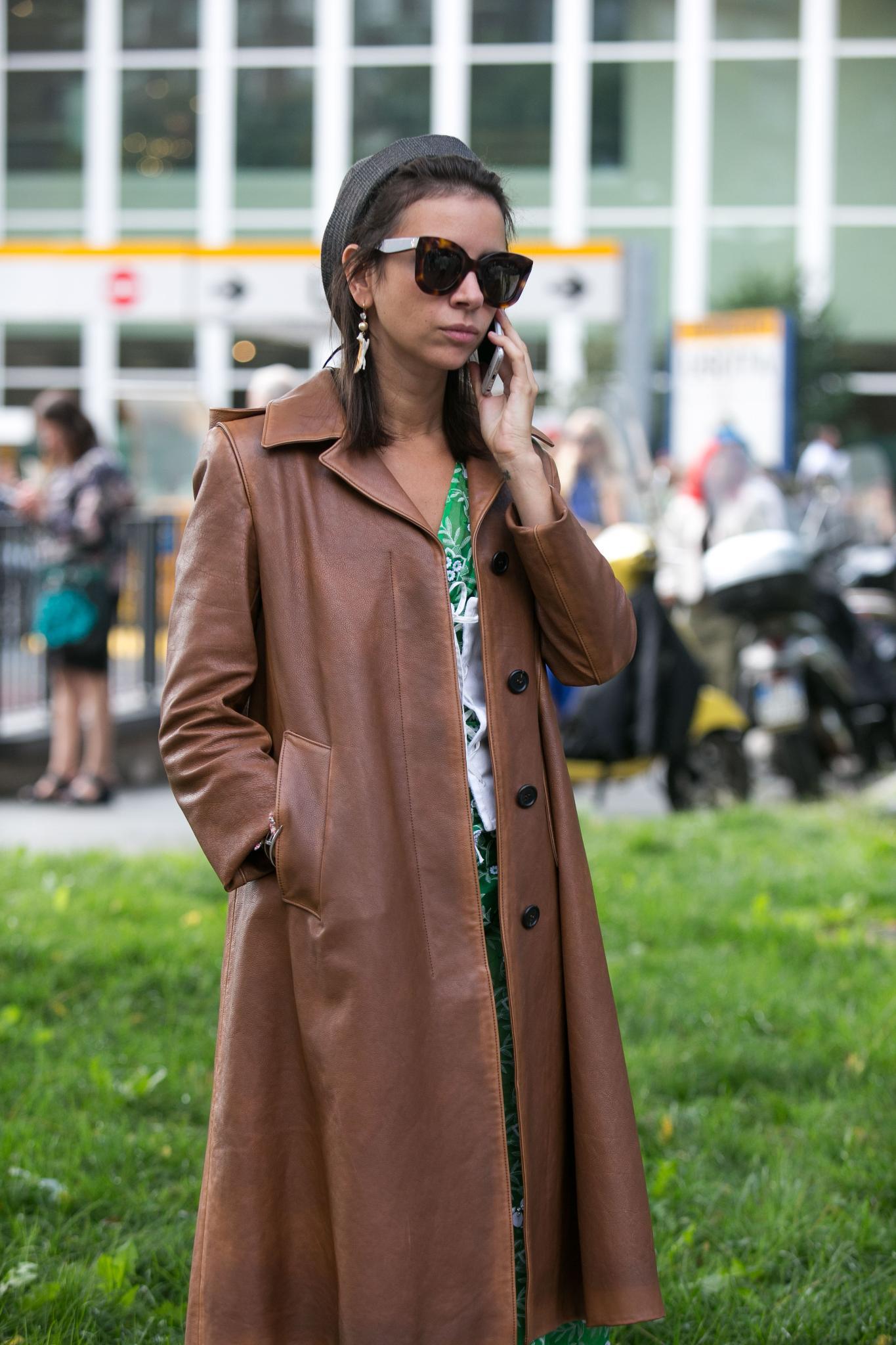 Short cuts: Miroslava Duma accessorising short hair with a hat at Fashion Week