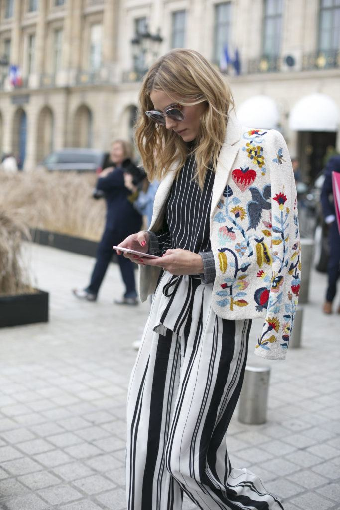 olivia palermo street style shot with light brown hair with blonde highlights
