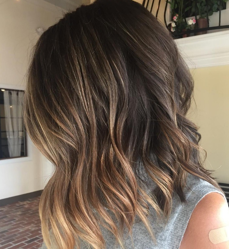 Trendy short hairstyles from Instagram: Wavy bob ombre brown hair
