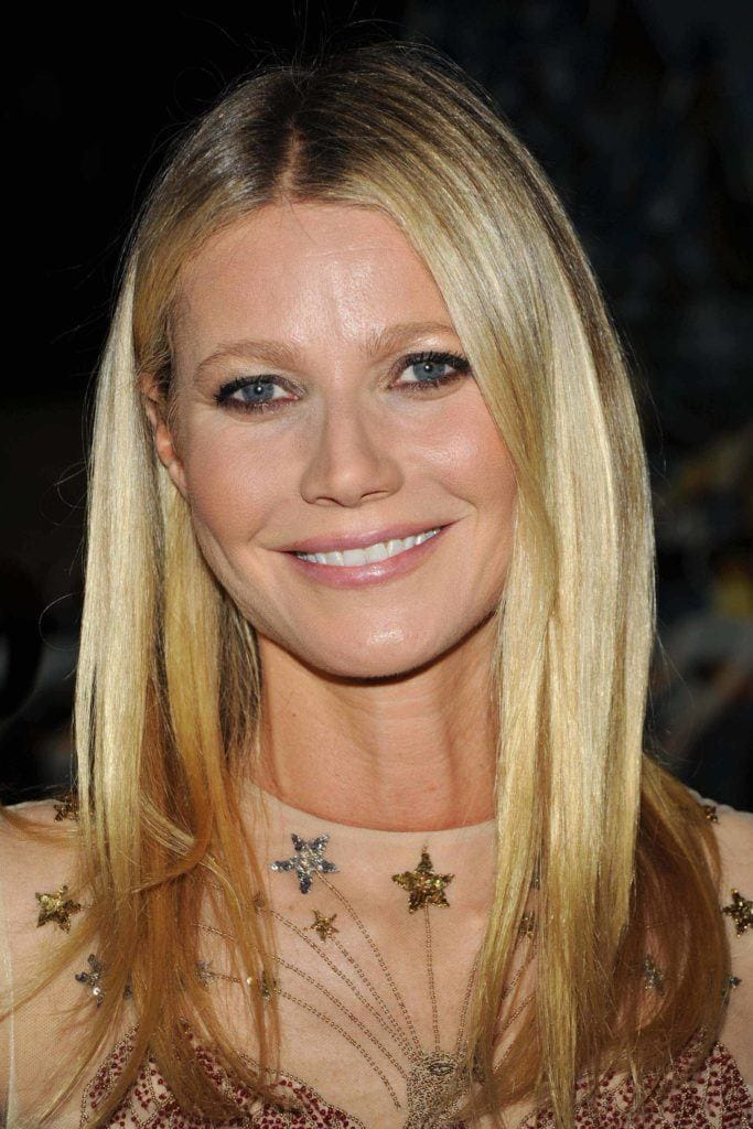 long straight hairstyles: Gwyneth Paltrow with sleek straight blonde hair