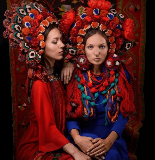 Flower crowns: 2 Ukrainian women in traditional grab and vinok