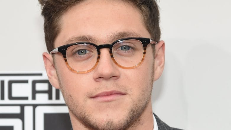 Niall Horan on the red carpet at the AMAs wearing a greay suit with a white short and glasses with his hair worn brushed back into a textured quiff