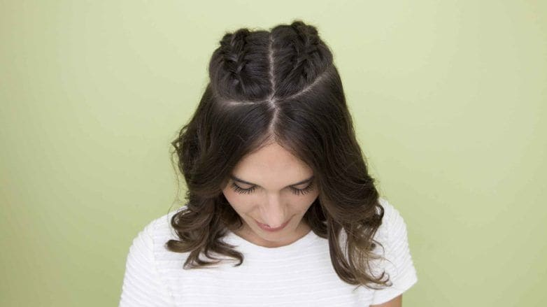 how to style a bob: All Things Hair - IMAGE - brunette short hair plaits wavy party ideas
