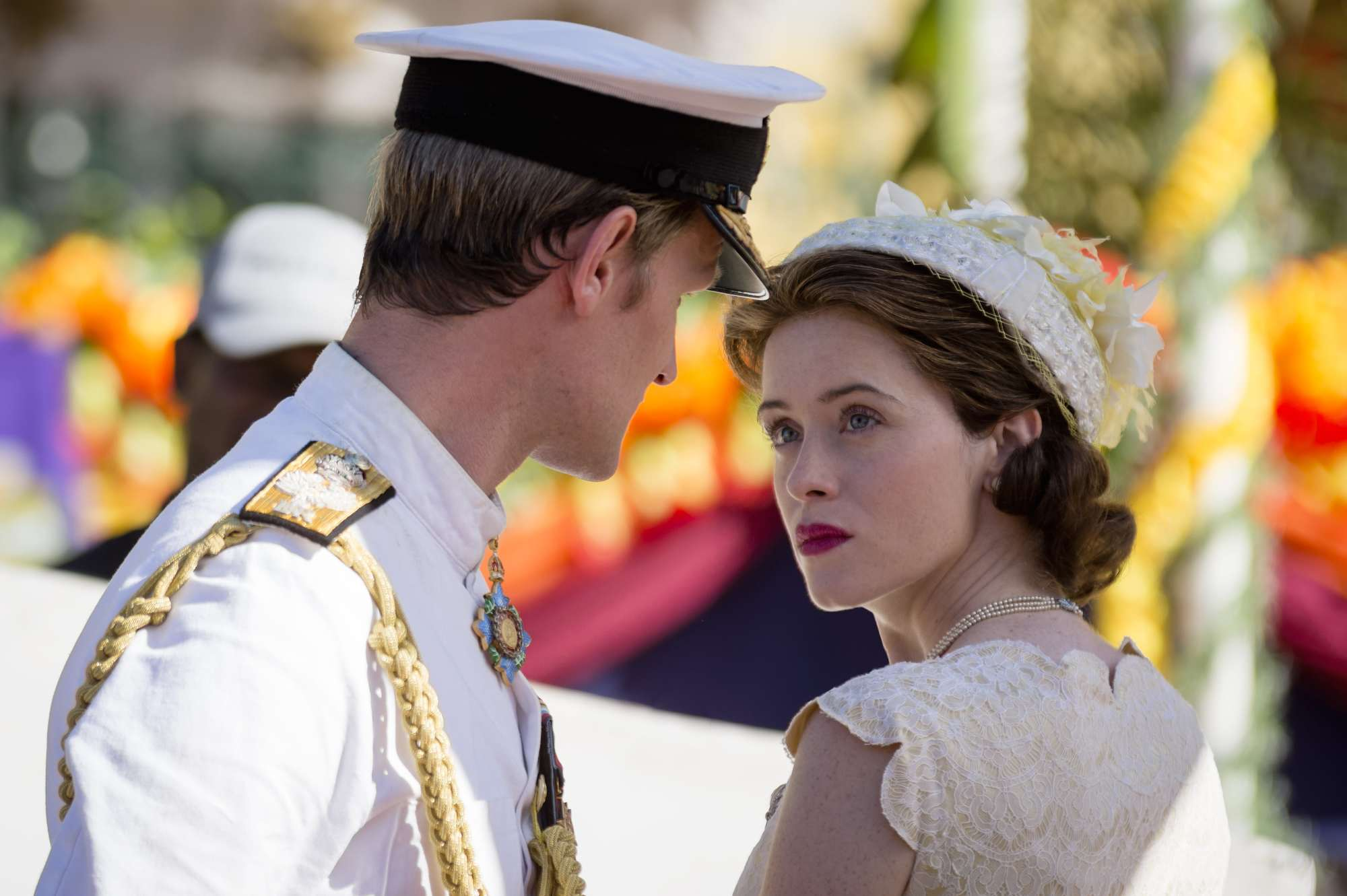 Stills of 'Queen Elizabeth' and 'Prince Philip' in season two of Netflix's The Crown