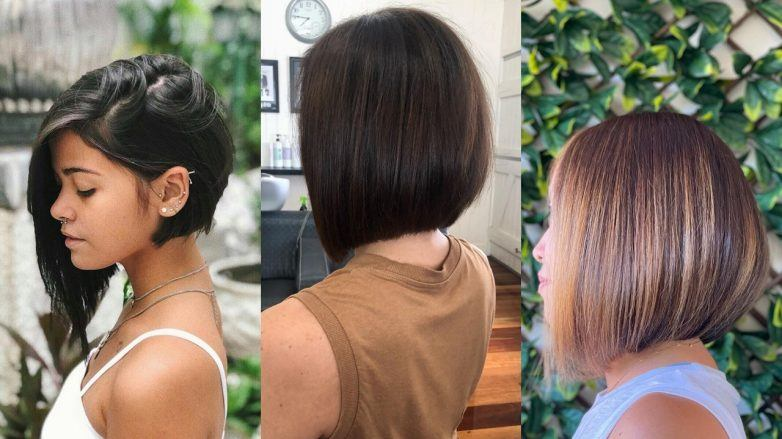 Three women with concave bob haircuts