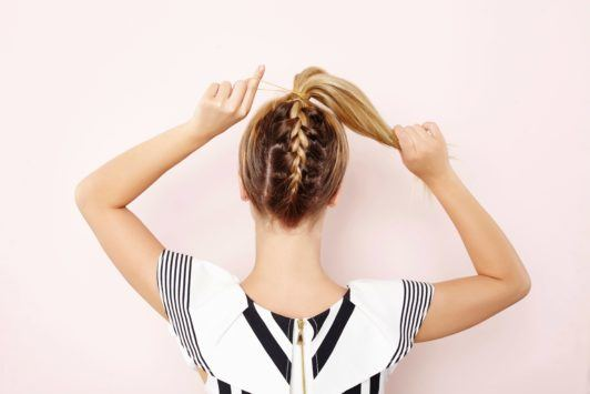 braided ponytail Christmas party hair updo tutorial