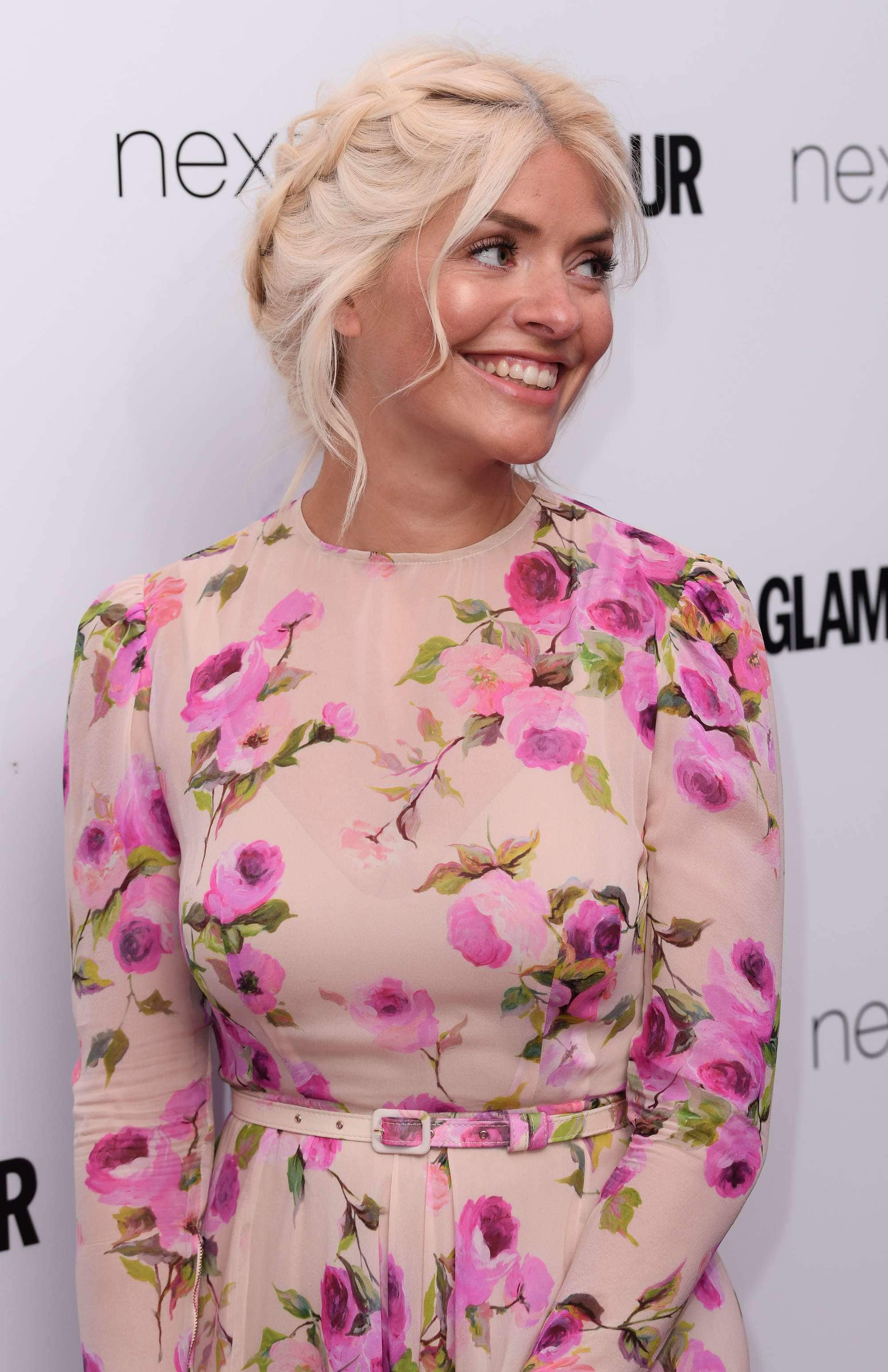 Red carpet hairstyles: Holly Willoughby with light blonde styled into a milkmaid braid