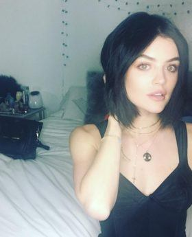 Lucy Hale celebrity Instagram black hair bob
