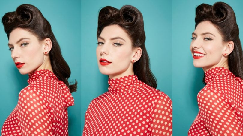 three images of a woman in a red and white spotted dress with her dark brown hair styled into retro pin up curls