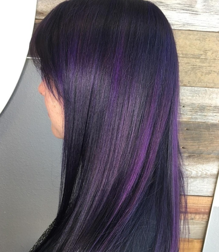 Purple Highlights On Dark Hair Is The