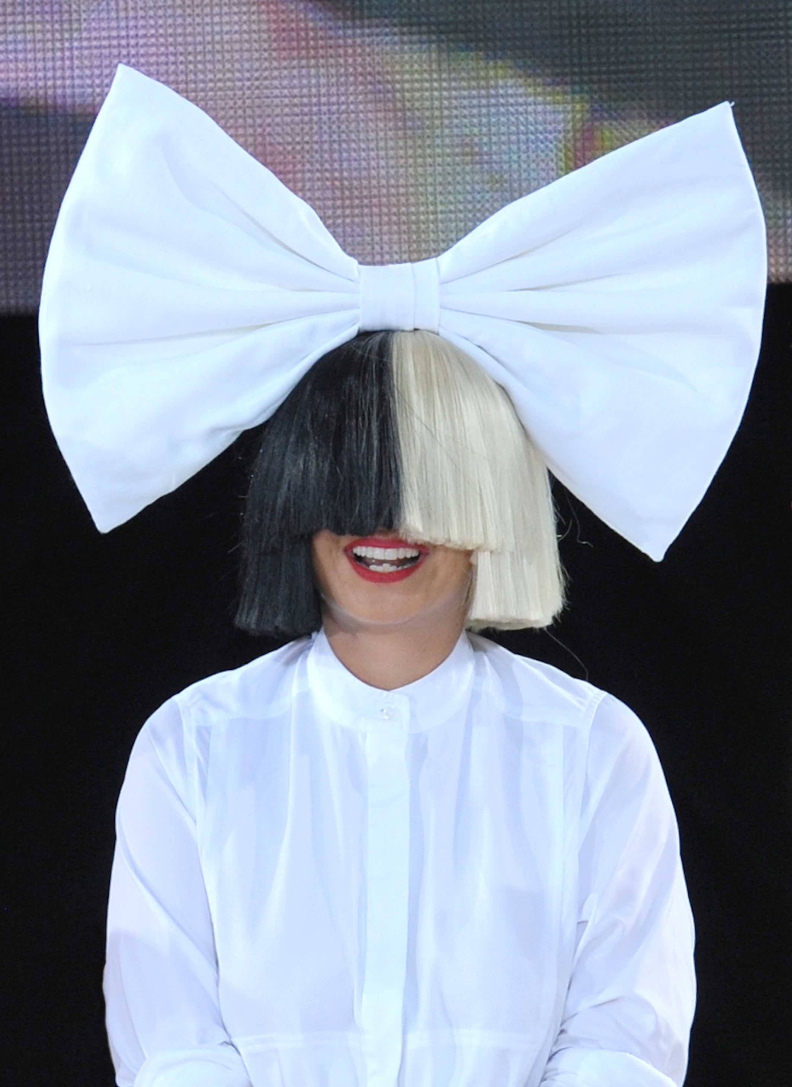 hair accessories 2016: All Things Hair - IMAGE - celebrity hairstyles Sia black blonde hair two tone fringe