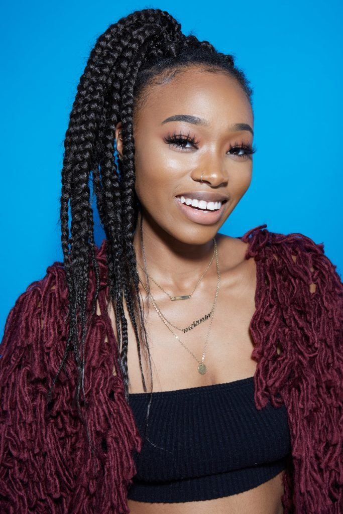 How to do box braids tutorial girl with box braids smiling
