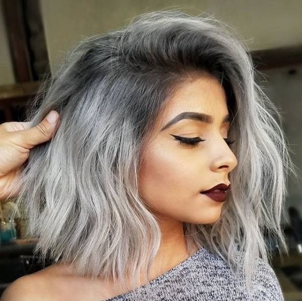 Instagram pic from @yigityesil34: Asian woman with wavy bob and steely grey ombre hair