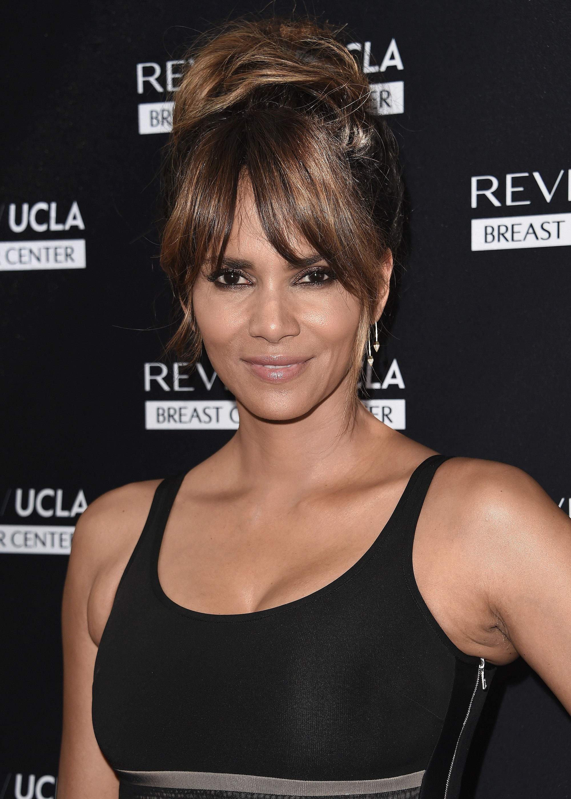 Halle Berry with twisted updo