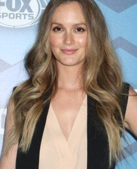 Leighton Meester long brown balayage hair