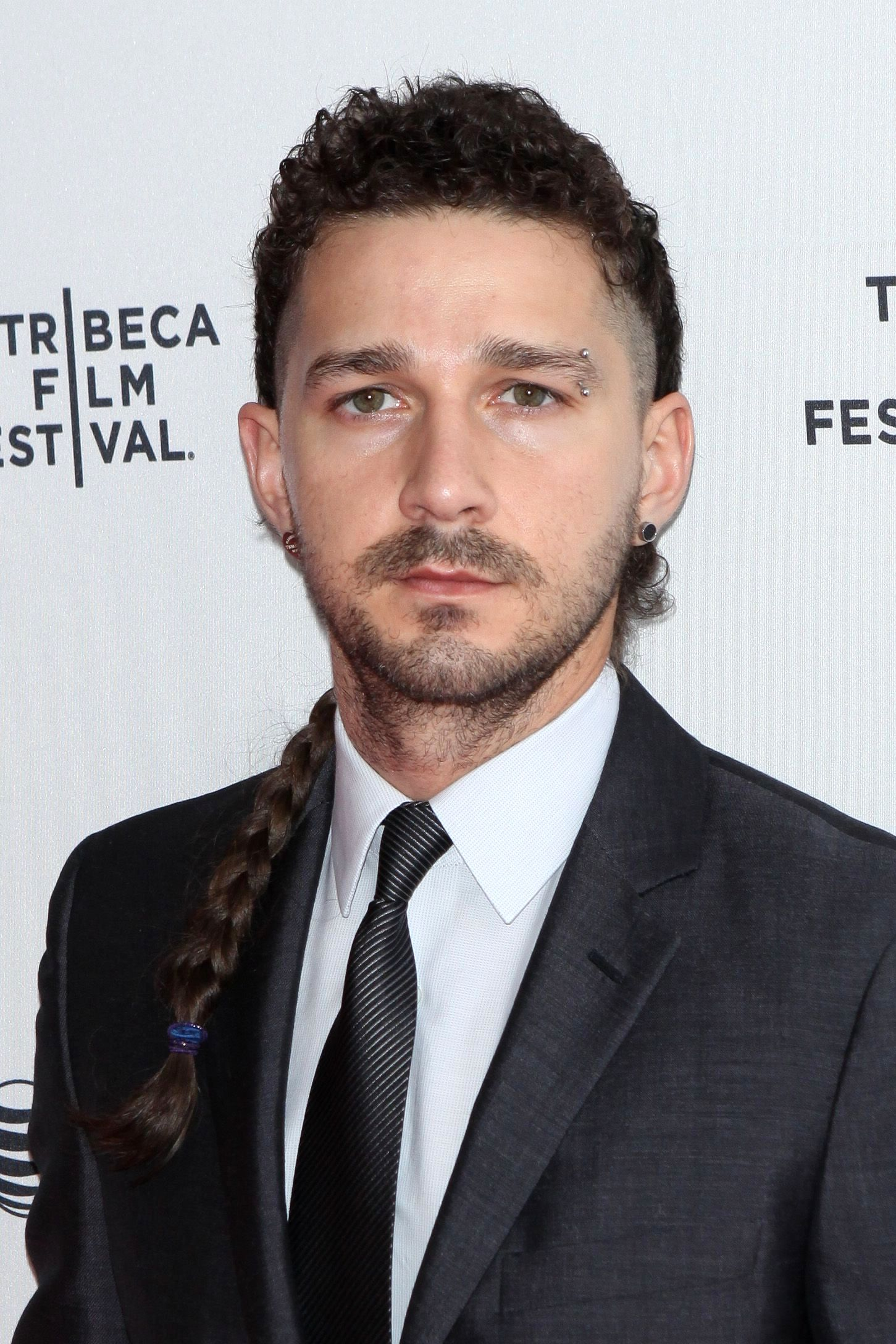 men with braids: All Things Hair - IMAGE - Shia LaBeouf side braid long hair