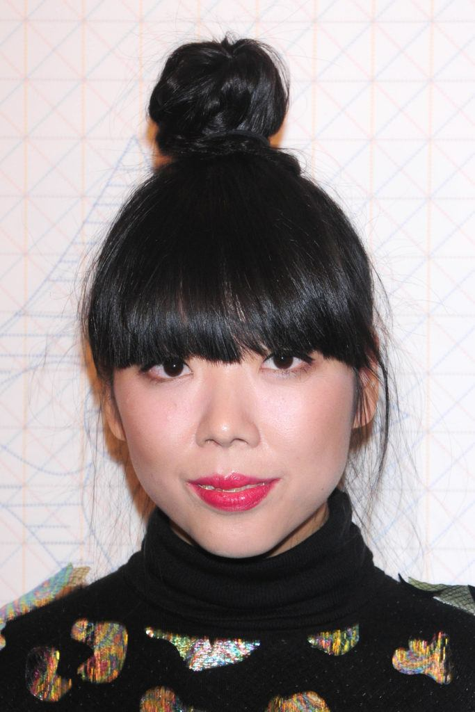 front view image of Susie Bubble with an updo bun fringe - hairstyles 2017