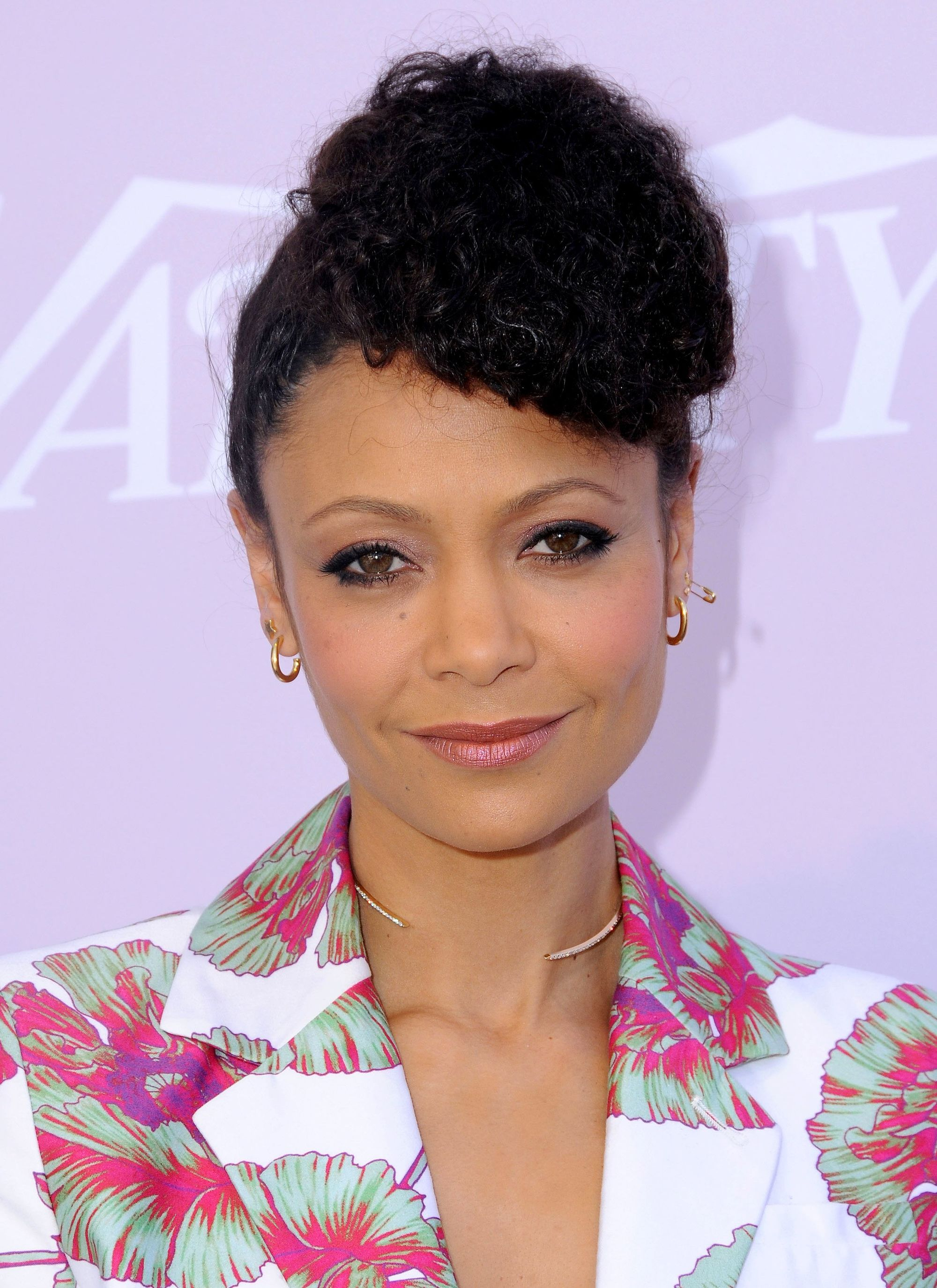 Thandie Newton black updo hairstyle