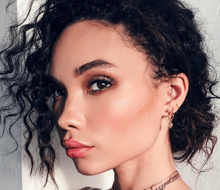 ashley moore with curly updo hairstyle instagram