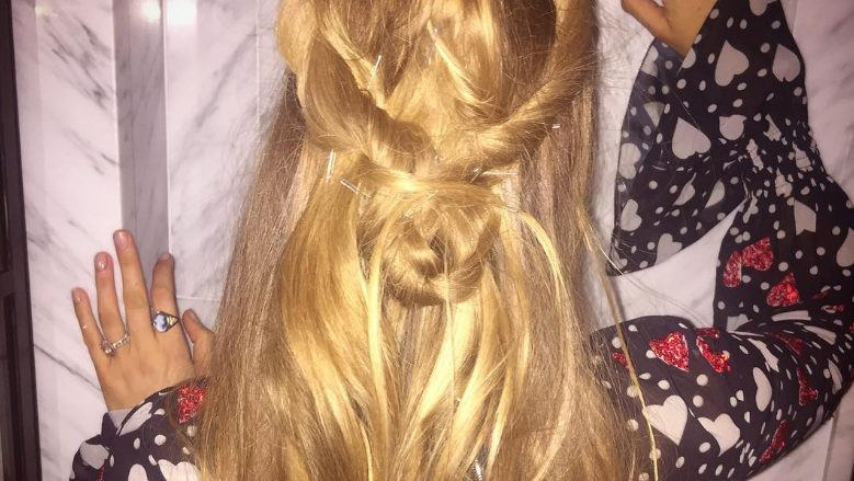 blake lively with twisted heart shape updo hairstyle on instagram