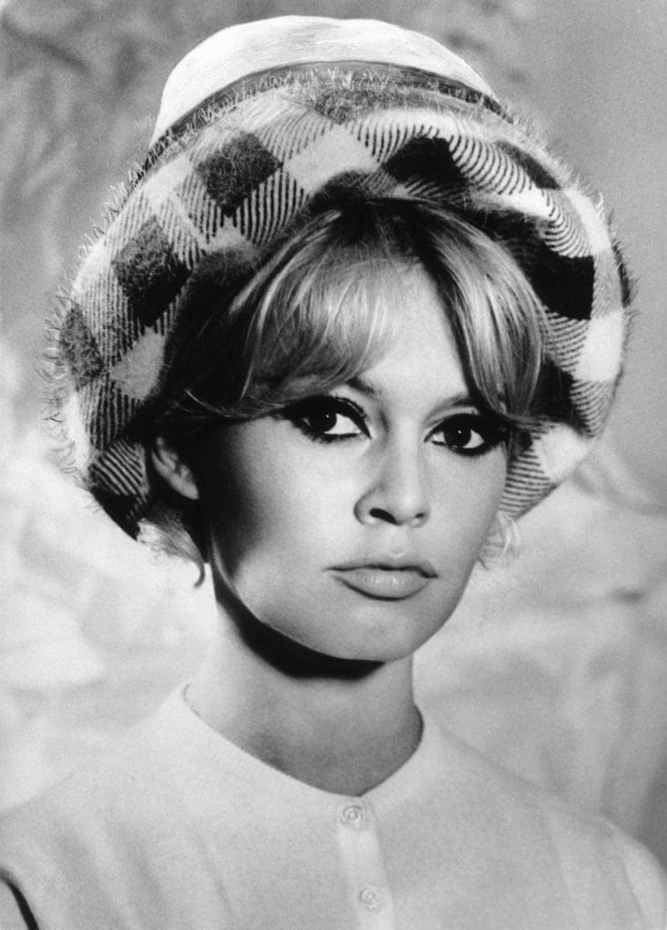 image of Brigette Bardot with bangs hairstyle updo