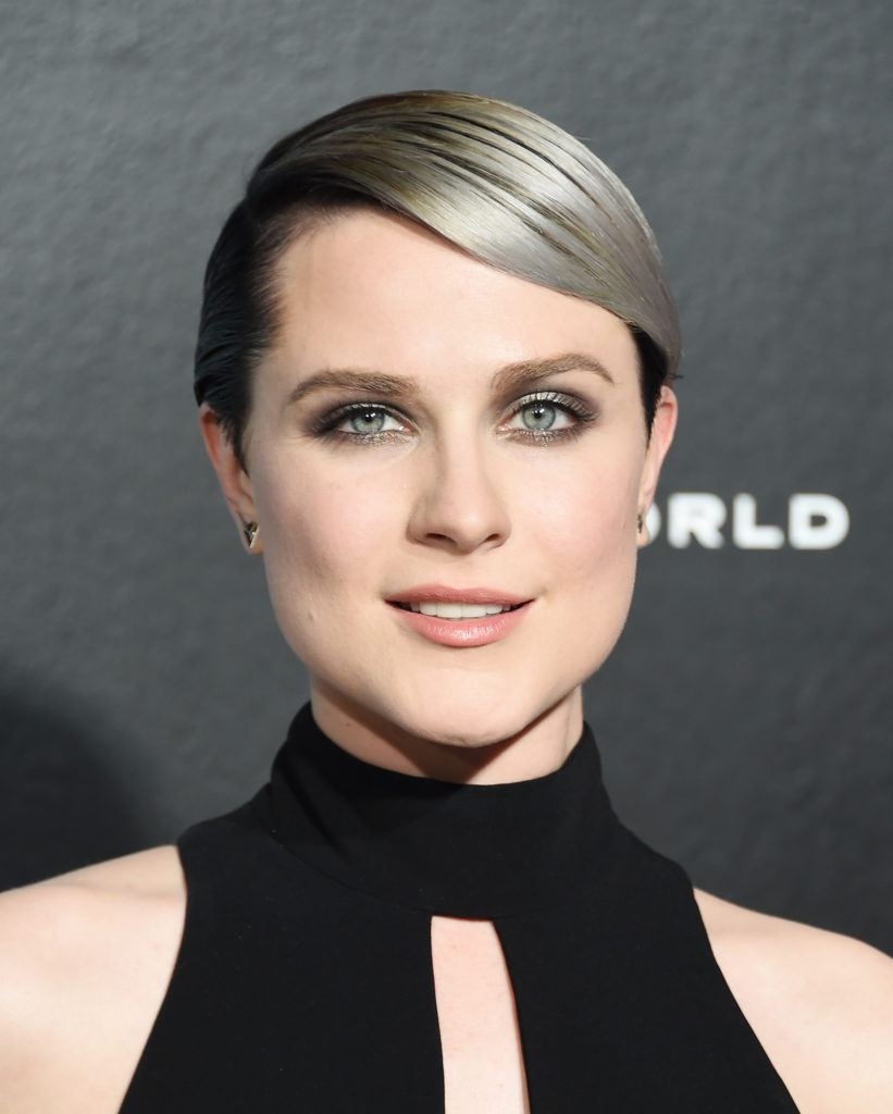 evan rachel wood on the red carpet with a smooth pixie cut and a silver balayage colour