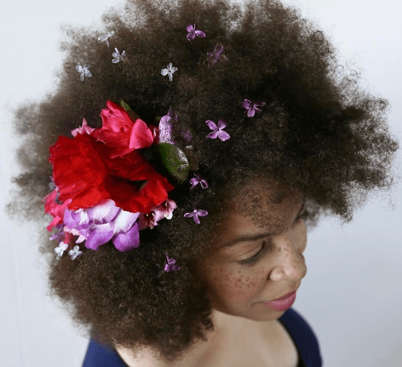 valentines day hair afro style with flowers instagram