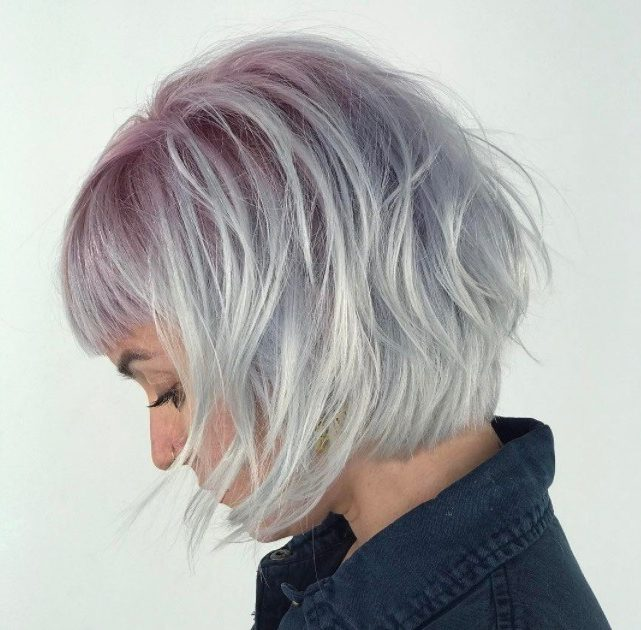 Ombre short hair: woman with choppy bob with pink sorbet hairstyle