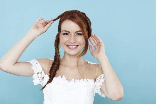 fishtail braids red hair milkmaid plait