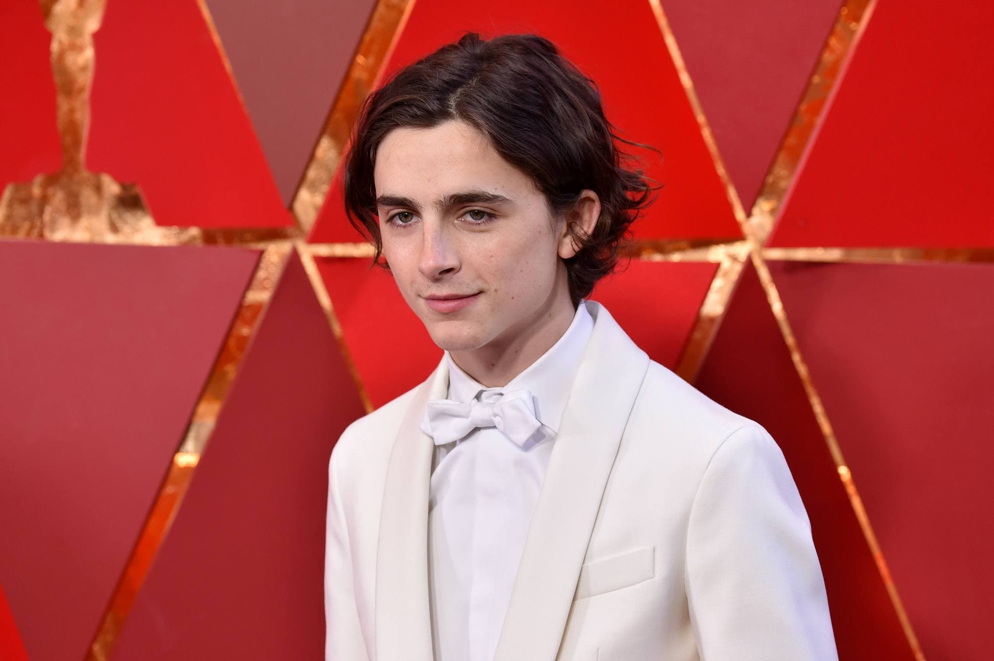 close up shot of timothee chalamet with wavy flow hairstyle, wearing all white suit at the 90th Annual Academy awards