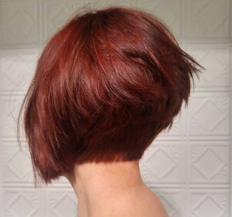 red angled short stacked hairstyles