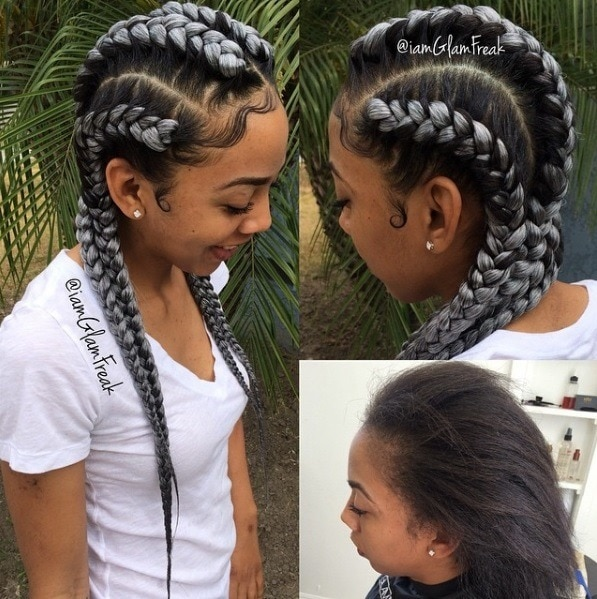 black woman with icy blonde coloured goddess braids