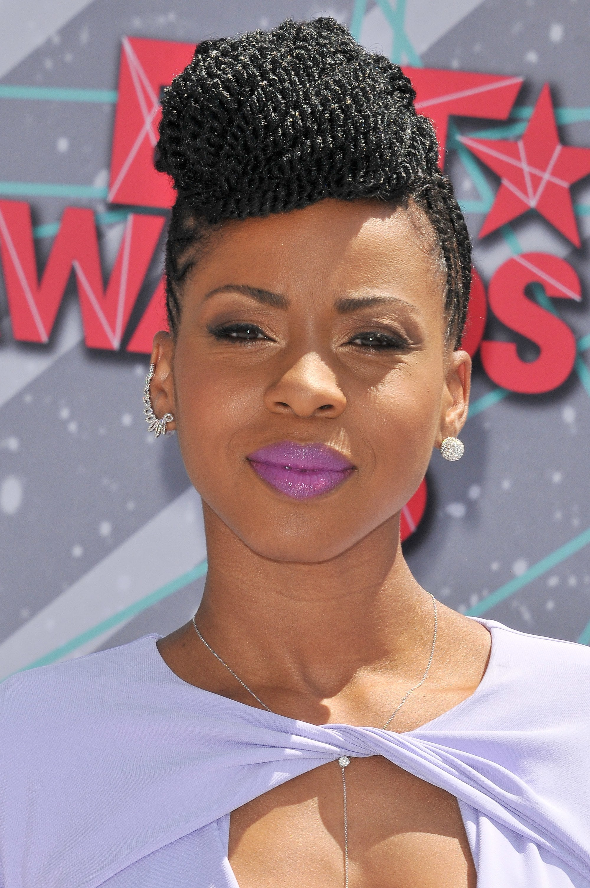 Danielle Mone truitt with kinky twists styled into a vintage updo