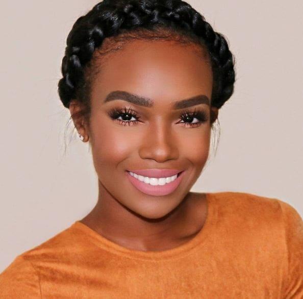 goddess braids hairstyles: black woman with a halo braid