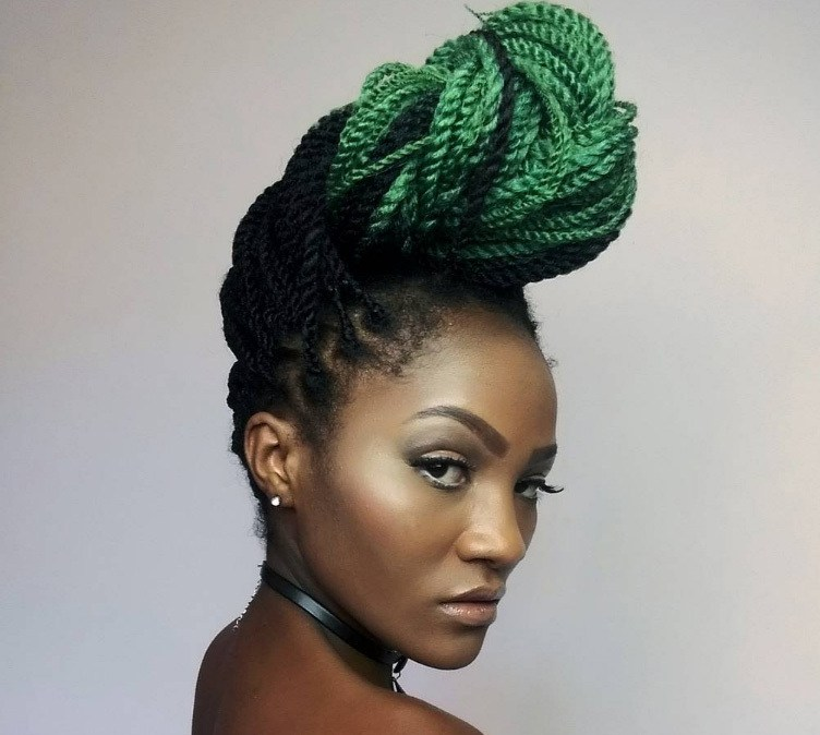 woman with yarn braids styled into a quiff hairstyle