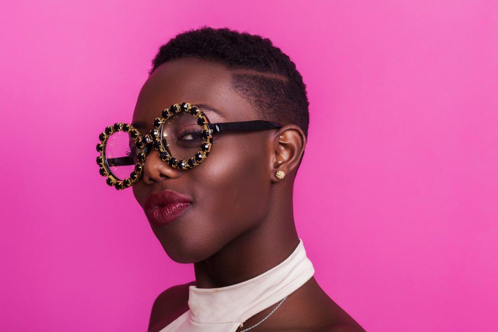 black model with trendy short funky hair
